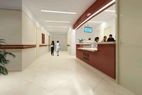 大型医院走廊过厅效果图模板素材