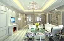 高雅华贵欧式客厅装饰效果图