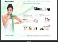 韩国美女美容减肥网页模版PSD素材