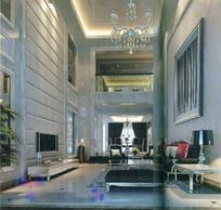 黑白风格简约欧式挑高客厅餐厅3dmax模型