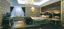 黑白风格欧式卧室3dmax模型