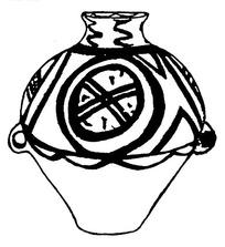 黑白简笔画古代陶罐图片