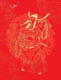 红色布料上的寿字纹团花