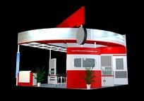 红色时尚商业展厅设计模型