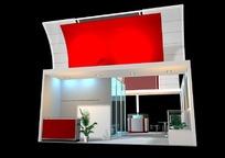红色屋顶展厅效果图3D模板素材
