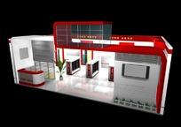 红色展厅效果图3D模板素材