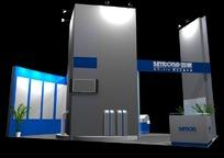 灰兰相间展厅效果图3D模板素材