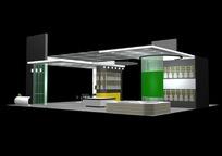 灰绿色简约展厅效果图3D模板素材