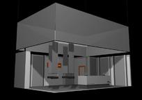 灰色展厅效果图3D模板素材
