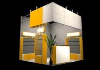 简洁黄色小型商业展厅设计