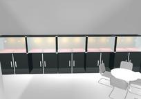 简洁展柜和桌椅设计模型