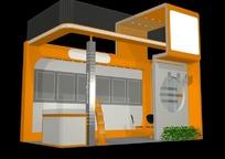 精美橙色商业展厅设计模型