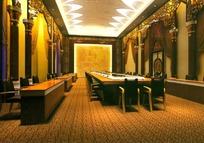 金色调中型会议室3D设计效果图