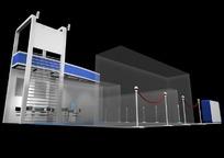 蓝色调展厅侧面效果图3D模板素材