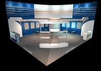 蓝色调展厅效果图3D模板素材