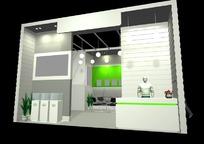 绿色展厅效果图3D模板素材