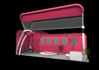 玫红色展厅效果图3D模板素材