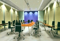 米黄色调小型会议室 3D模型图