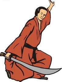 拿着刀的日本武士卡通画