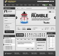 欧美时尚简洁黑白对比网页设计模板