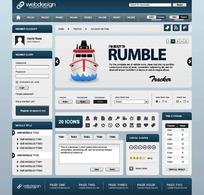 欧美时尚简洁蓝白对比网页设计模板