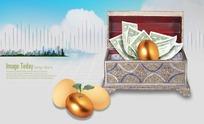 欧式百宝箱里的美元纸币和金蛋