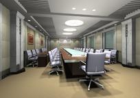 浅色系中型会议室3D模型图