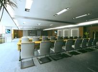 商务大楼宽敞简洁的会议上设计效果图
