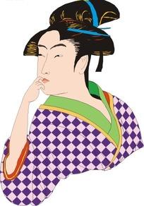 身穿格子图案和服的日本女子