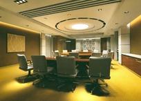 深色调小型会议室 3D模型图