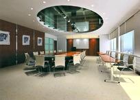 深色调中型会议室 max效果图