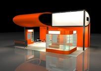 时尚橙色商业展厅设计模型