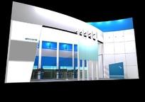 天蓝色清雅展厅效果图3D模板素材