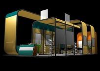 土黄色华丽商业展厅设计模型