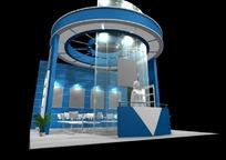 圆形创意蓝色商业展厅设计