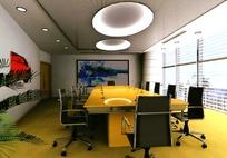 中型会议室模拟效果图