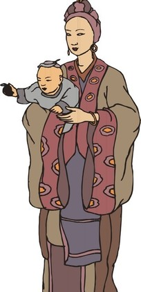 手绘牵着孩子的父母