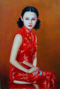 穿红旗袍的女子人物绘画图片