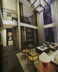 复式楼客厅设计3D模型图