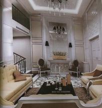 复式楼欧式客厅装饰设计效果图