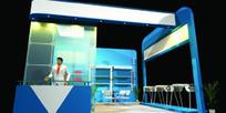 蓝色简约时尚展厅设计效果图模板素材