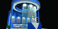 蓝色圆形新颖时尚展厅设计效果图