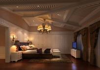 木制异形吊顶简欧卧室3dmax模型