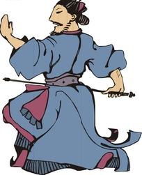 拿着箭的手绘日本武士