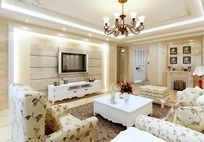 欧式田园风格带壁炉小客厅3dmax模型