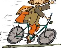 骑自行车的卡通母子
