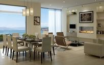 现代风格海景房的餐厅与客厅3dmax模型