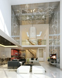 现代时尚跃层客厅及餐厅3dmax模型