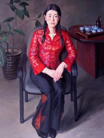椅子上的红衣女子画像