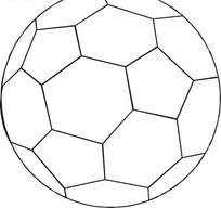 黑白足球线描图矢量图